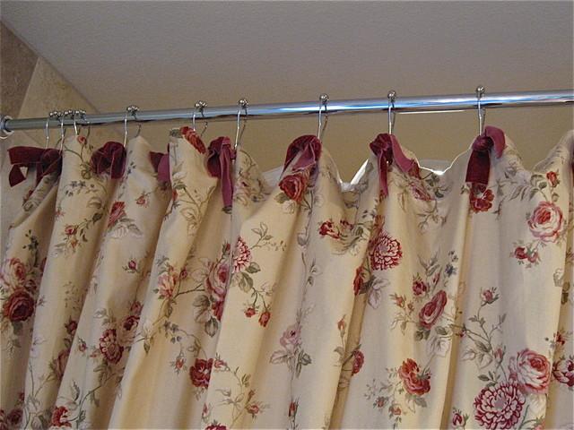 Waverly Fabric Shower Curtain w/Red Velvet Ribbon Ties ...