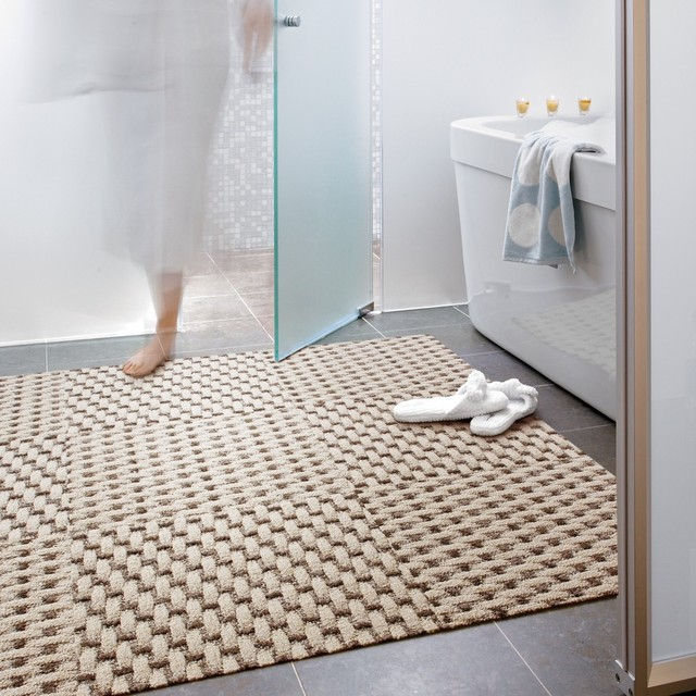 Weave a story modern bathroom chicago by flor for 12x12 living room rugs