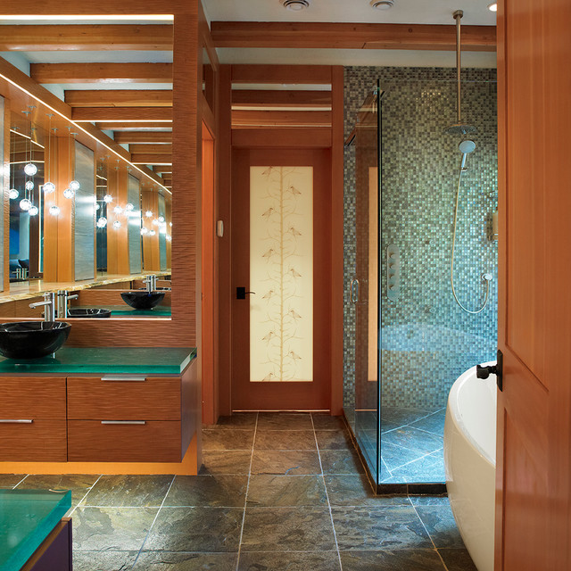 Eclectic Mosaic Tile Bathroom Idea In Vancouver With A Vessel Sink