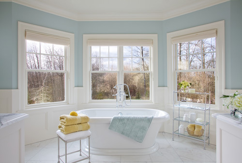 Pretty sure this is woodlawn blue from benjamin moore for Houzz bathrooms traditional