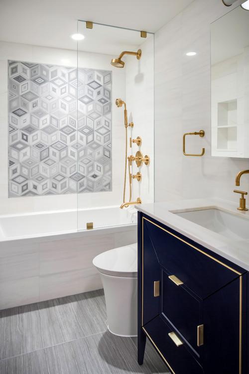 Gray and white bathroom design