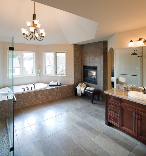 Bathroom with Radiant Gas Fireplace