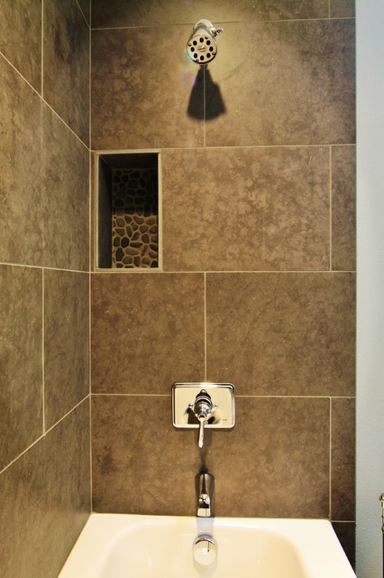 Large format tile with pebble niche accent traditional for Large bathroom tiles in small bathroom