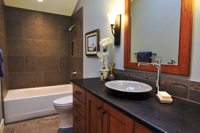 Large Format Shower Tile Slate Floor And Backsplash