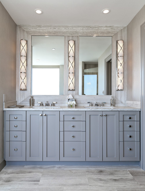 Gray Bathroom Vanity Cabinets White Countertops