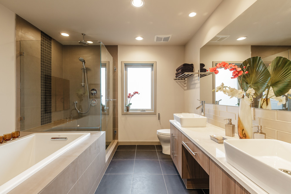Inspiration for a contemporary bathroom remodel in Seattle with a vessel sink and white countertops