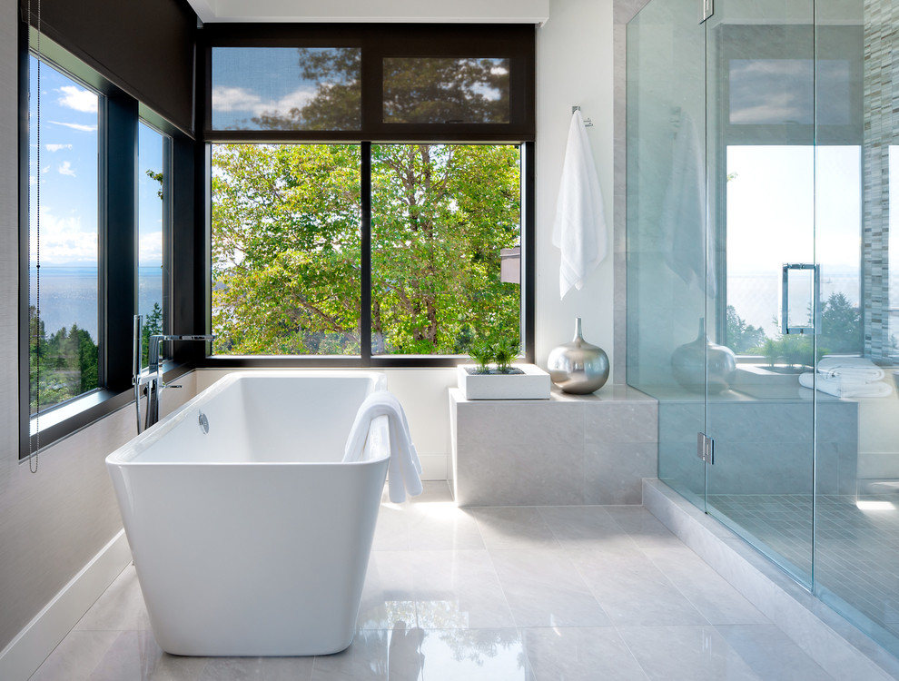 Inspiration for a contemporary gray tile bathroom remodel in Vancouver