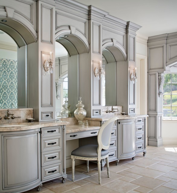 Inspiration for a timeless gray tile and stone tile freestanding bathtub remodel in Los Angeles with an undermount sink, gray cabinets, marble countertops and raised-panel cabinets