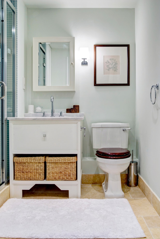 Bathroom - traditional 3/4 bathroom idea in London with an undermount sink, flat-panel cabinets, white cabinets, a two-piece toilet and gray walls