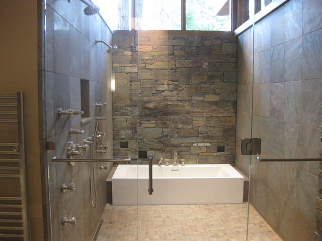 Wet room for Wet floor bathroom designs