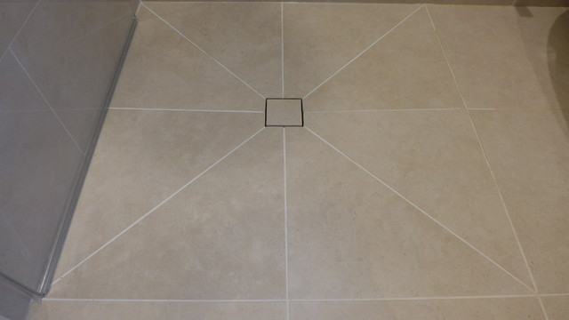 wet room shower floor tile design to central drain - Contemporary ...