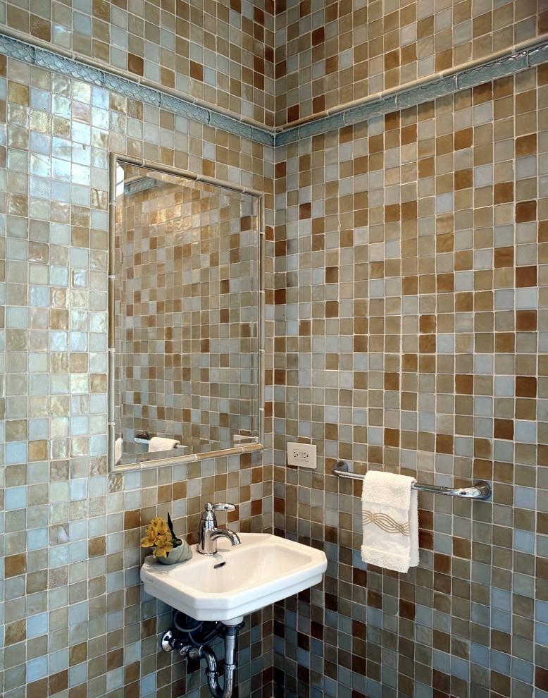 Bathroom - traditional mosaic tile bathroom idea in Atlanta with a wall-mount sink