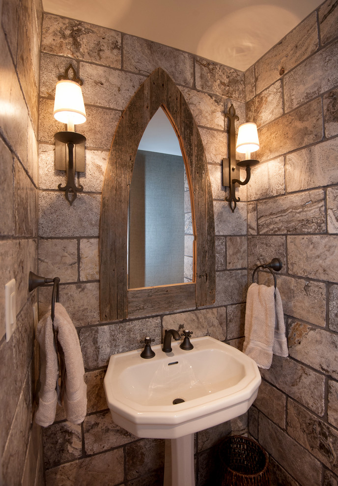 Example of a mid-sized mountain style 3/4 porcelain tile bathroom design in Other with brown walls and a pedestal sink