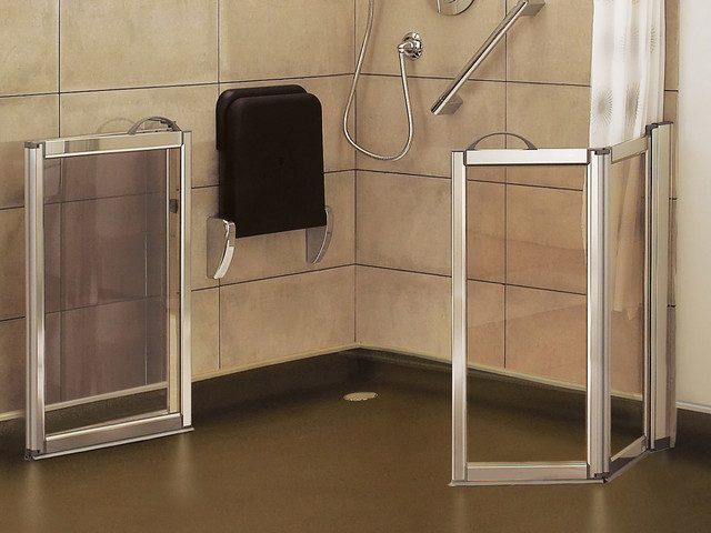 wheelchair accessible caregiver doors modern bathroom