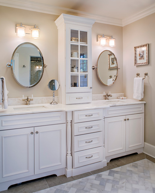 Whimsical White Traditional Bathroom New York By