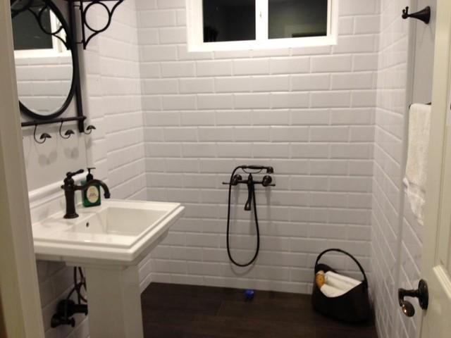 White 4x10 subway tile bathroom for Bathroom 4 x 8