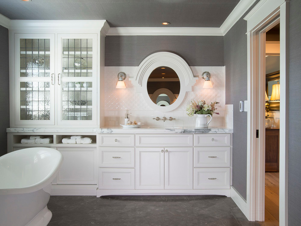 White and Gray Bathroom St. Louis, MO - Transitional ...
