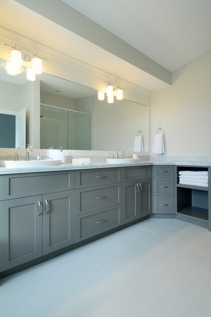 White Grey Bathroom Contemporary Bathroom Calgary By Veranda Estate Homes Interiors