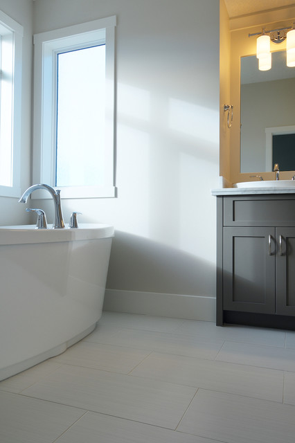 White & Grey Bathroom contemporary-bathroom