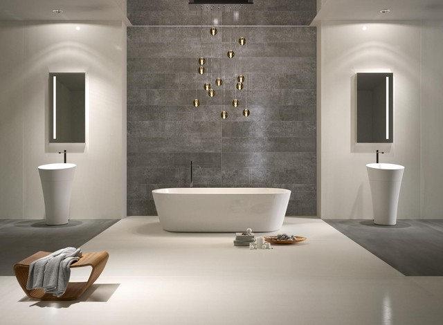 Genial White And Grey Metal   Contemporary   Bathroom     By .