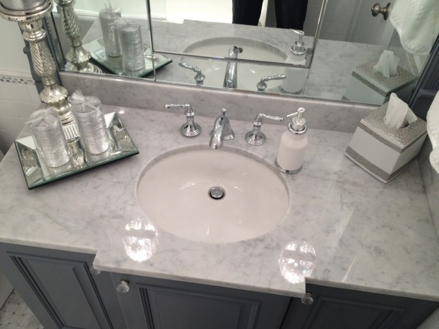White & Silver Marble Bathroom.
