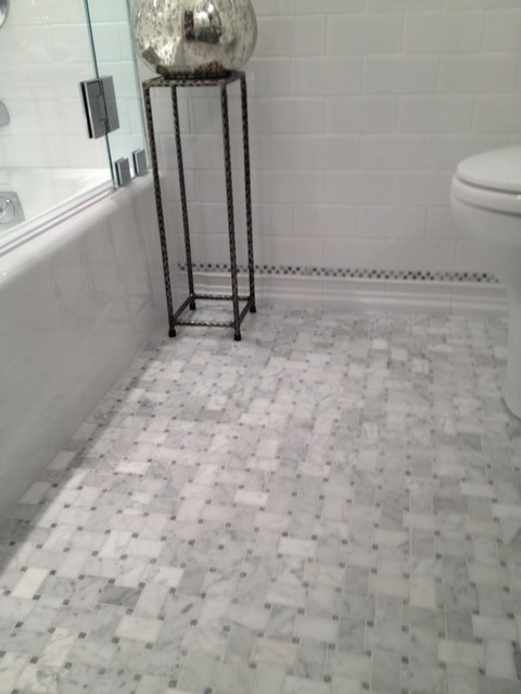 White Amp Silver Marble Bathroom