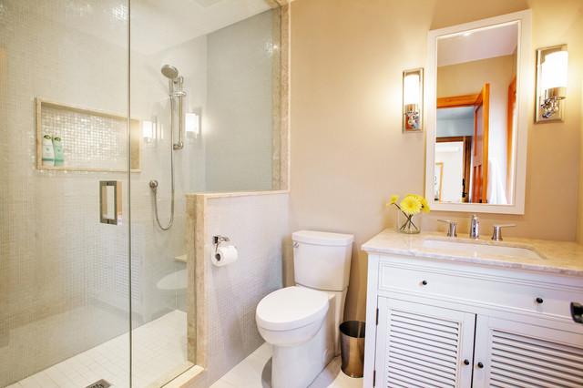 White and Wood Beach House beach-style-bathroom