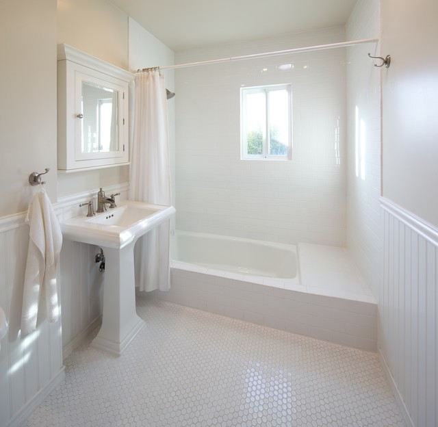 Example Of A Trendy Subway Tile White Floor Bathroom Design In Los Angeles  With A Pedestal