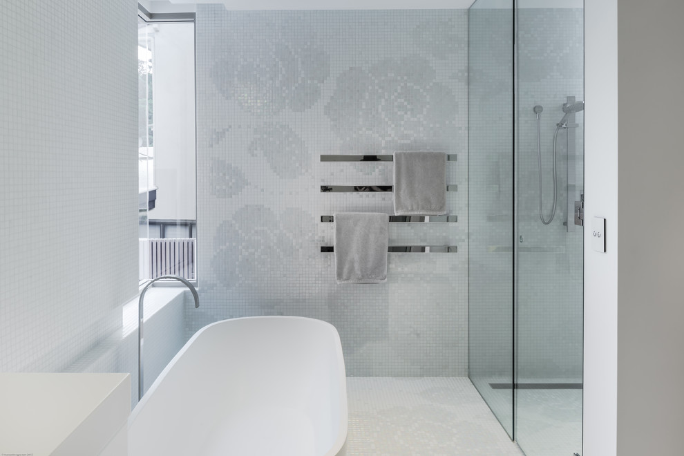 Inspiration for a contemporary white tile and mosaic tile mosaic tile floor freestanding bathtub remodel in Sunshine Coast