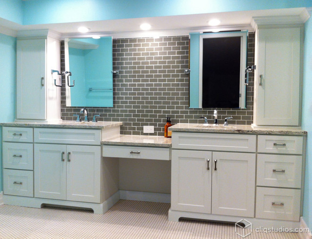White Cabinets | Mission Cabinets | CliqStudios transitional-bathroom
