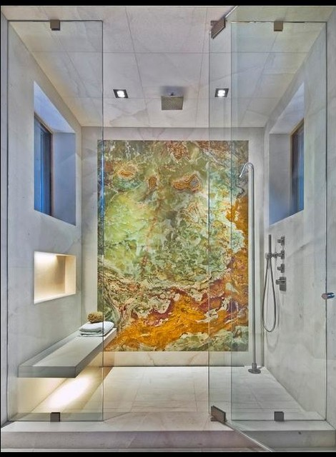 White Carrara and Backlit Onyx Shower