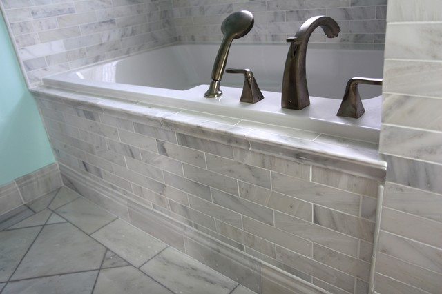 White Carrara Marble Traditional Bathroom Atlanta