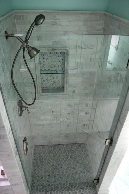 White Carrara Marble Traditional Bathroom Atlanta