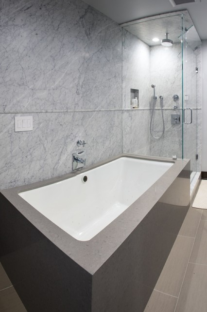White Carrera Marble Tub Marble Slab Steam Shower