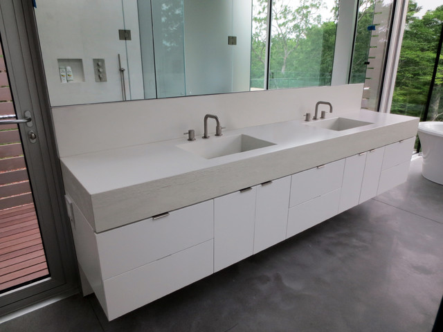 White Concrete Bathroom Vanity Sink With Double Faucets Bathroom