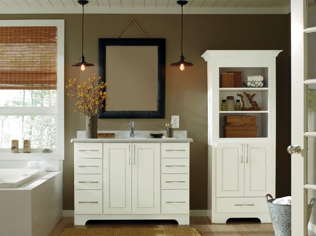 White Contemporary Bathroom Cabinets With Medium Dark Walls Beach Style Bathroom Detroit