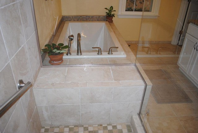 White Drop In Tub Tile Floor Tub Surround And Shower
