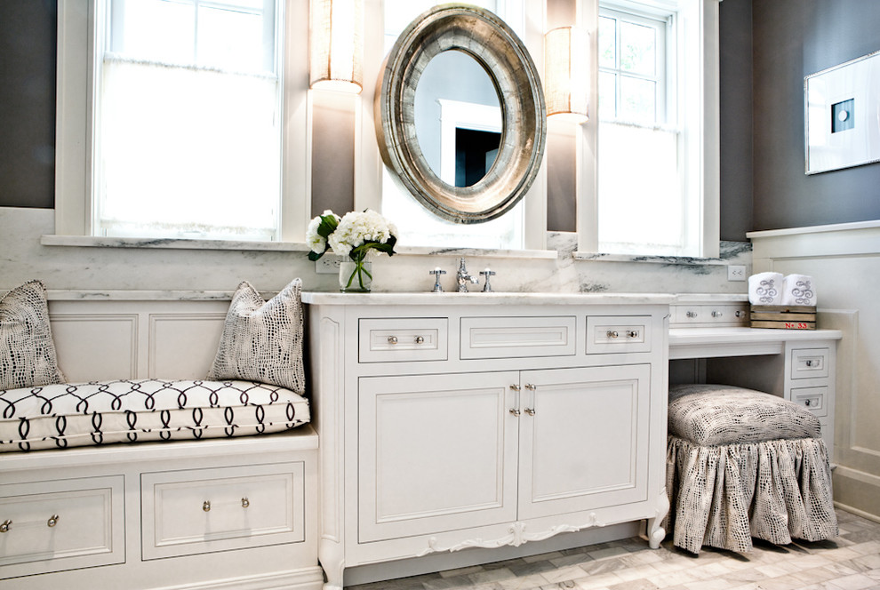 White, Gray, and Marble Bathroom Renovation St. Louis, MO ...