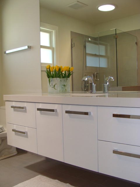 White Lacquer Vanity Modern Bathroom San Francisco