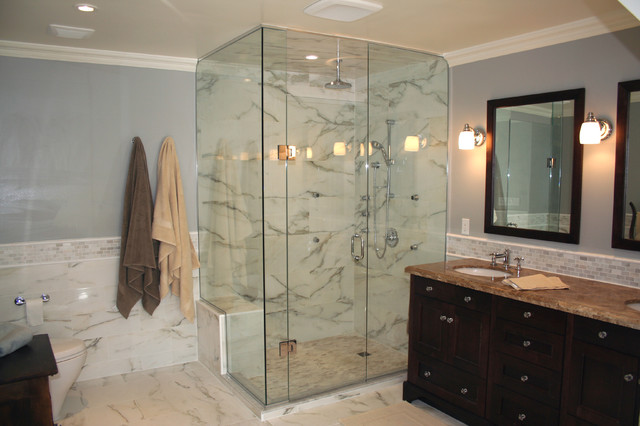white marble bathroom traditional bathroom toronto by norcon