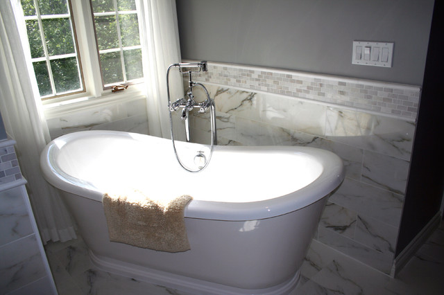 White Marble Bathroom Traditional Bathroom Toronto By Norcon Home Improvements