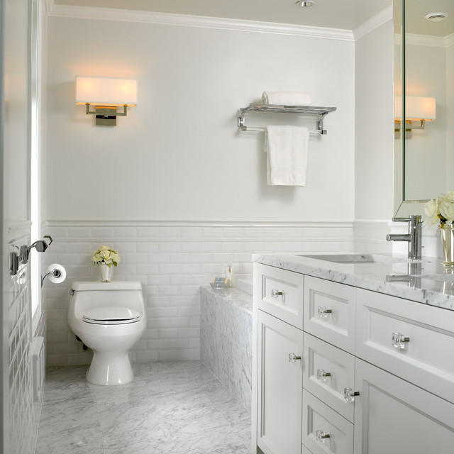elegant subway tile marble floor bathroom photo in vancouver - Bathroom Tiles Marble