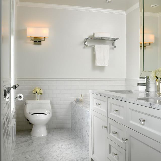 White marble bathroom american traditional bathroom for Houzz bathroom design guide