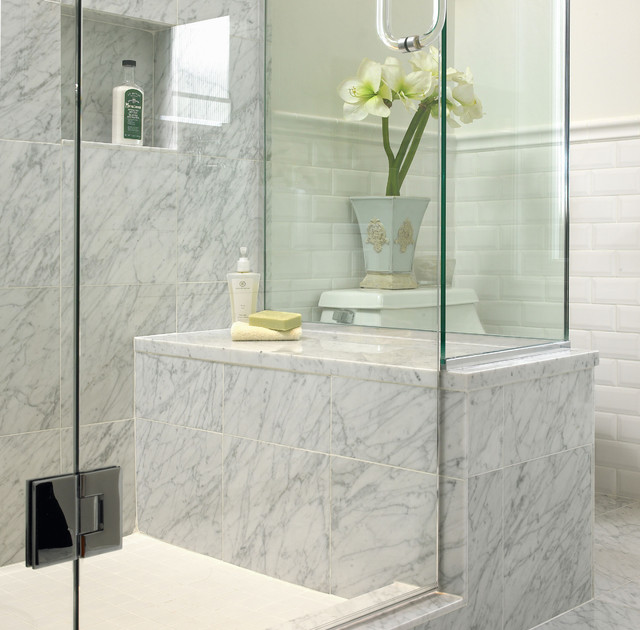 White Marble Bathroom Traditional Bathroom