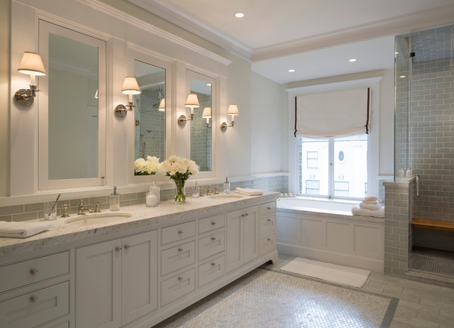White Marble Bathroom with Double Vanity transitional-bathroom - White Marble Bathroom With Double Vanity - Transitional - Bathroom