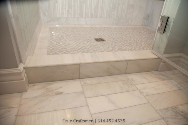 White Marble Bathroom With Frosted Subway Gl Tiles Contemporary