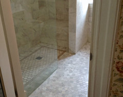 White Marble Curbless Shower - Vancouver West Side traditional-bathroom