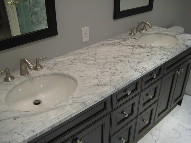 White Marble contemporary-bathroom