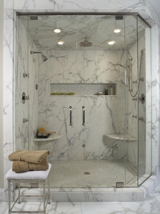 Stone Corner Shower Shelf Design Ideas, Pictures, Remodel and Decor