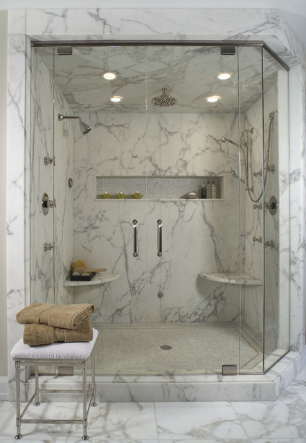 Trendy White Tile And Marble Tile Alcove Shower Photo In Detroit